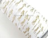 "Gold Flower Girl on White Elastic - FOE Fold Over Elastic - 5/8"" Metallic Foil Print Headbands - Hair Ties - Shiny - Bridal Shower - Wedding"