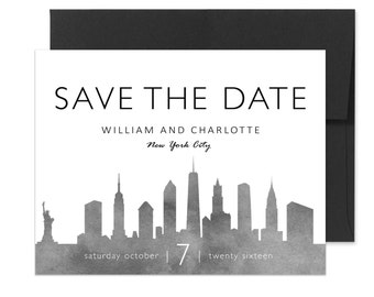 City Skyline Wedding Save the Date - Grey Watercolor