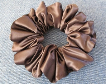 clearance sale 15% off, brown satin hair scrunchie, hair tie, satin hairband, wide scrunchie, satin hair wrap is 2 3/8'' (6 cm) wide