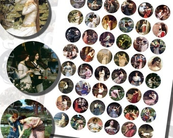 John William Waterhouse Paintings Printables, ONE INCH CIRCLES (25 mm), with 1/2 inch (13mm) and 3/4 inch (20mm) circles also included