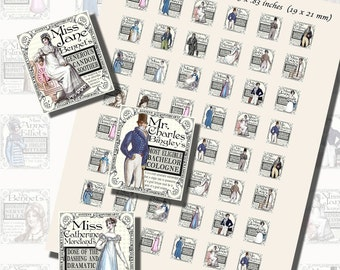 Jane Austen Novels--Fantasy Apothecary Labels, SCRABBLE TILE SIZE (.75 x .83 Inches or 19 x 21 mm), 20 Illustrations Included, 48 Total
