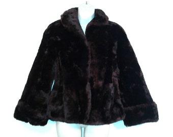 SALE 1940s-50s Mouton Fur Swing Jacket - Titche-Goettinger - Dark Chocolate Brown Lamb