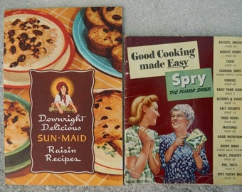 Two Vintage Cook Booklets 1940s Sun Maid Rasins and Spry Shortening