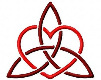 Celtic knot heart trinity machine embroidery design 4 inch instant download
