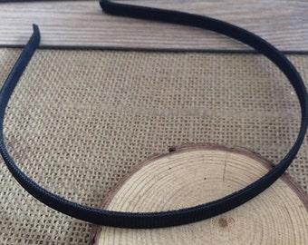 10pcs Black Satin Covered metal  Headband  8mm Wide