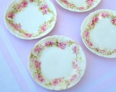 Antique Haviland Limoges China Butter Pat Dishes with Pink Roses | Set of 4 | Shabby Chic Tableware | Made in France