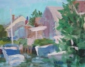 Boats in Lagoon III, original acrylic painting on 8x10 stretched canvas, sfa, modern impressionist, boats, art, painting, reserved V