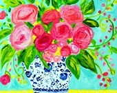 """Colorful Still Life, Pink Flowers in Blue and White Ginger Jar, GICLEE PRINT,  """"Katrin"""" by Carolyn Shultz"""