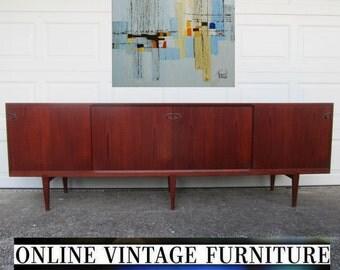 RARE 1960's Henry Rosengren Hansen Credenza long teak mid century midcentury mid-century designer danish modern retro atomic vintage