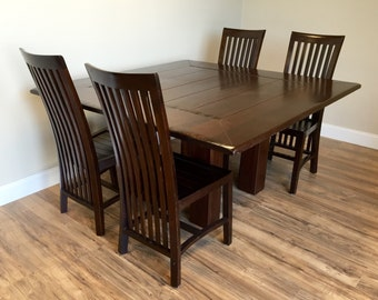 Square Dining Table - Dining Room Table and Chairs Set - Large Dining Table, Solid Wood Table - Used Furniture NJ - Rustic Dining Table