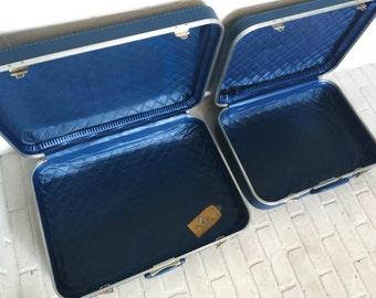 3pc Set Vintage Blue Trojan Luggage Co Retro Mid Century Hardcase Luggage Suitcases with Key