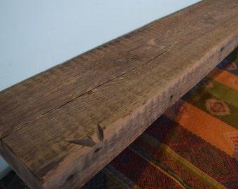 "Reclaimed Barn Beam Wood Fireplace Mantel Shelf  64"" x 8"" x 3"" - Antique 1700s 1800s Barnwood"