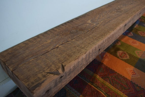 Reclaimed Barn Beam Wood Fireplace Mantel Shelf 64 x