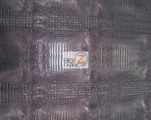 Metallic African Crocodile Embossed Vinyl Fabric - BLACK/SILVER - Sold By The Yard Upholstery 2 Tone Faux Fake Leather
