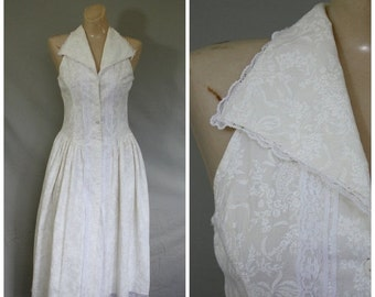 Sale Vintage Dress / Gunne Sax Dress / Ivory Cotton Dress / Day Dress / Summer Dress / Swing Skirt Dress S/M