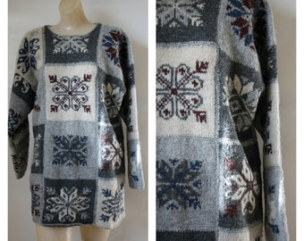 Vintage Gray Wool Sweater / 1970s Snowflake Sweater / Nordic WInter Sweater /Vintage Wool  Oversized Sweater XL Plus