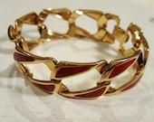 Vintage NAPIER Red Enamel Link Bracelet, 1980s Estate, Signed, Gold-Tone, Mid-Century Modern
