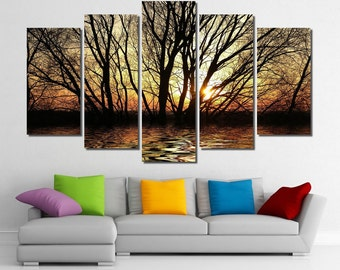 "60""x36"" Framed Huge 5 Panel Art Sunshine Rays Sun Tree Giclee Canvas Print - Ready to Hang"