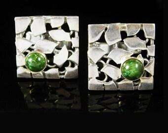 Sterling Malachite Cufflinks Abstract mid century modern Vintage Silver Irish green Artisan Fine Jewelry estate cuff links