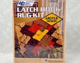 Vintage (80's?) Argyle latch hook rug kit