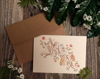 Geowls Single Greeting Card