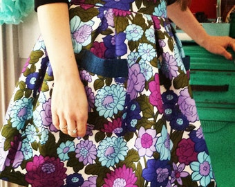 Vintage fabric pleated skirt made to measure.