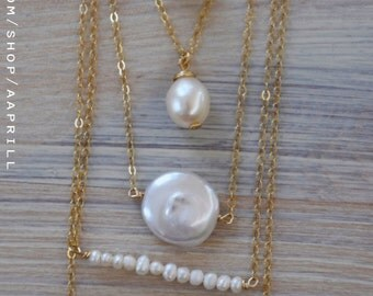 Single Pearl Necklace, Delicate Pearl Necklace, Bridesmaid Gift, Dainty Pearl Necklace, silver/ Gold Necklace, gift for her, Wedding Gift