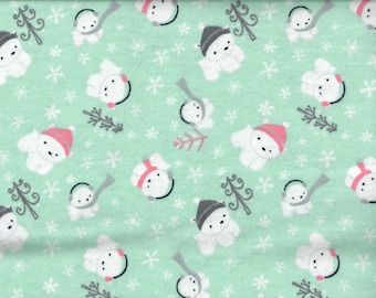 FREE SHIPPING - Polar Bear flannel fabric - aqua with white cubs in pink and gray hats scarves and earmuffs  - Camelot Fabrics - by the YARD