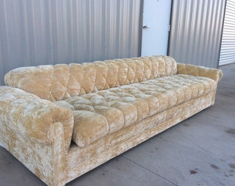 Vintage cigar HOLLYWOOD REGENCY Mid century tufted modern curved SOFA Couch