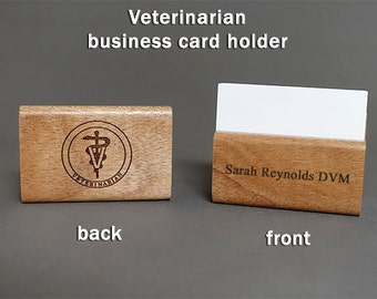 Veterinarian Personalized Wooden Business Card Holder