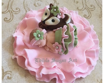 WOODLAND BABY SHOWER DeerTutu Ruffle Skirt Woodland Nursery Invitation  Theme Fondant Baby Cake Topper