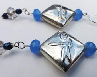 Silver Dragonfly Earrings, Silver Earrings, Dragonfly Earrings
