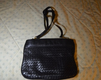 Vintage Black Leather Purse With Woven Panel in the Front