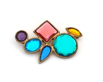 "Vintage Pin Brooch Colorful Multi Color Plastic ""Stones"" in Gold Tone Metal with Mirrored Open Backs Large Big Size Art Deco"