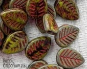 16x12mm Green and Red Carved Leaf - Top Drilled Czech Glass Leaf Bead - 1836 - 10 beads - Green and Red Leaves