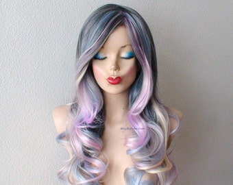 Pastel dark gray / baby blue lavender cream blonde Ombre wig.  Long curly hair long side bangs one of kind hand craft wig.