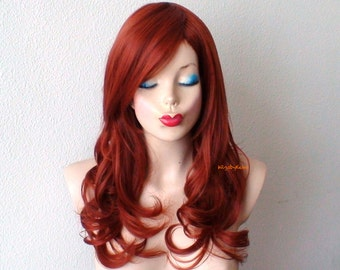 Auburn wig. Soft layer Wavy hairstyle Copper red color Durable Heat resistant Synthetic wig for daytime use or Cosplay.