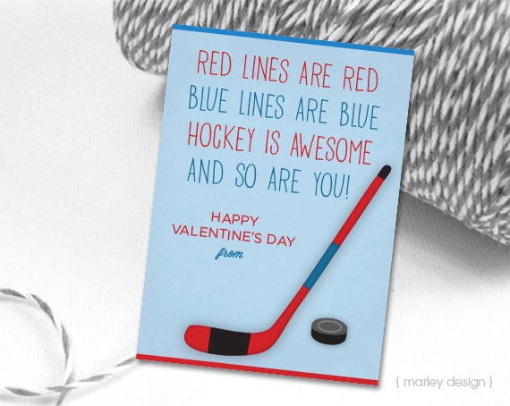Hockey Valentines Cards Printable Instant Download Kids – Hockey Valentine Cards