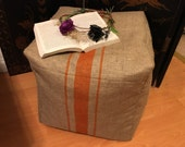 Reserved for Brynne:  Hand-Painted Burlap Stripe Ottoman, Pouf, Foot Stool