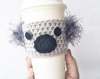 Crochet Koala Sister Gift Coffee Cozy, Crochet Wife Gift Coffee Cozy, Koala Coffee Sleeve, Mug Cozy, Coffee Cup Cozy, Gray Koala coffee cozy