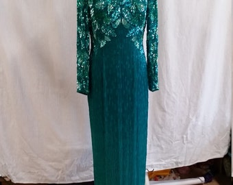 beautiful teal green beaded gown