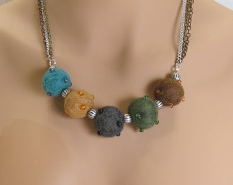 Chunky felted ball necklace multi strand necklace earthy colors