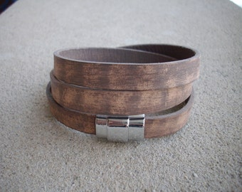 10mm Flat Vintage Brown Tan Putty Leather Wraparound Bracelet with Silver Magnetic Clasp