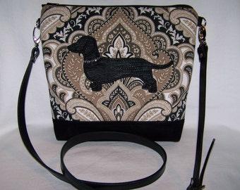 New Elegant Black Paisley Dachshund-Wiener Dog Cross-Body Bag