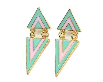 Pink and Green Triangle Earring!!