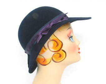 Navy Blue Wool Derby Bowler Women's Hat by Ruth Ann designs Fall-Winter Lady Sherlock Holms Hat Formal Hat in excellent vintage condition.
