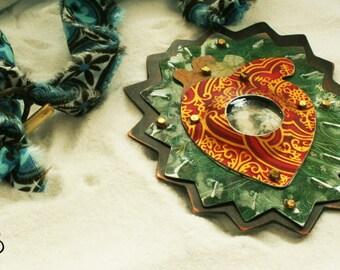 Reclaimed tin FOLLEY talisman necklace