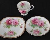 Royal Albert American Beauty Teacup Trio Pink Roses