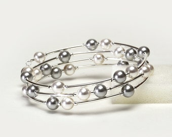 Floating Pearl Memory Wire Bracelet - Light Gray and White Crystal Pearl Bracelet - Handmade Jewelry