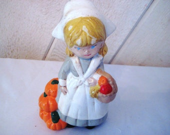 Woman Pilgrim figurine, fall autumn decor, young girl,  blond hair, blue eyes, pumpkin statue, halloween decor